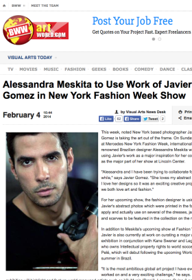 Alessandra Meskita to Use Work of Javier Gomez in New York Fashion Week Show
